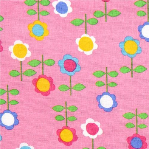 pink flower designer fabric from the USA fabric