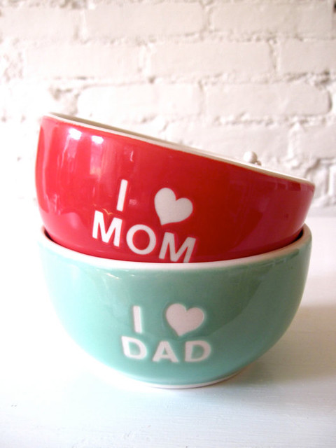 I Love Dad Angel Turquoise Green Bowl by Hideminy New York modern-bowls