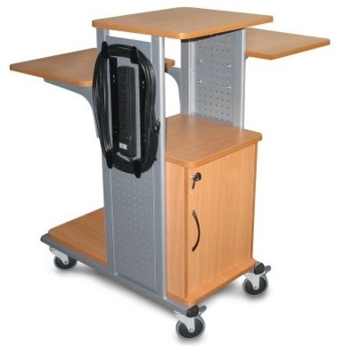Luxor Boardroom Series Laptop Computer Presentation Cart with Security Cabinet a - Modern ...