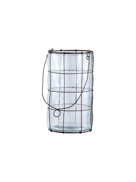 Large Candleholder with Metal Netting -