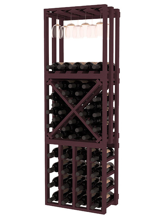 Lattice Stacking Cube - 3 Piece Set in Pine with Burgundy Stain - Designed to stack one on top of the other for space-saving wine storage our stacking cubes are ideal for an expanding collection. This 3-piece set comes with (1) X-Cube, (1) Stemware Cube and (1) 4 Column Cubicle. Use as a stand alone rack in your kitchen or living space or pair with more stacking cubes as your wine collection grows.