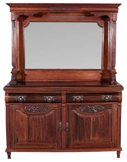 Solid Walnut Buffet ~ Antique english solid walnut carved buffet sideboard