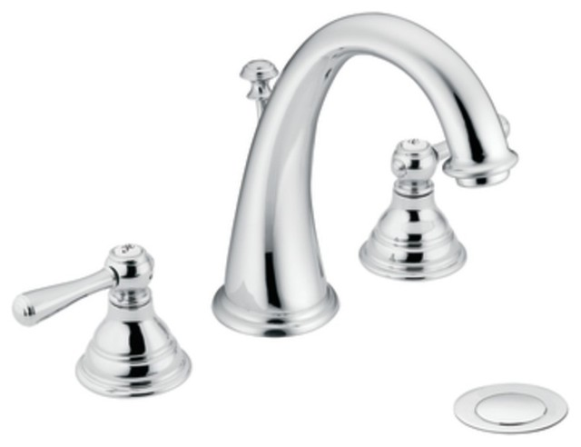 Moen T6125 Kingsley Two Handle Widespread Bathroom Sink Faucet Trim In Chrome Traditional