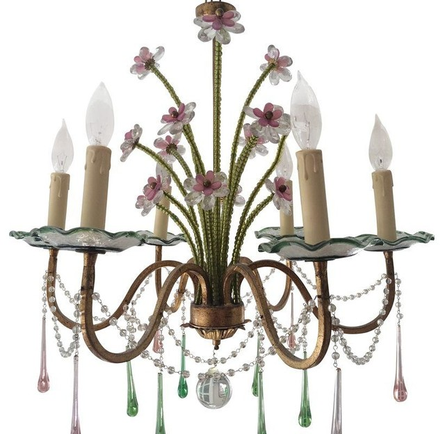 pink green murano glass chandelier modern chandeliers by chairish. Black Bedroom Furniture Sets. Home Design Ideas