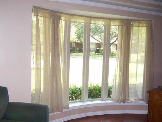 bay window sheers bendable curtain rod transitional. Black Bedroom Furniture Sets. Home Design Ideas