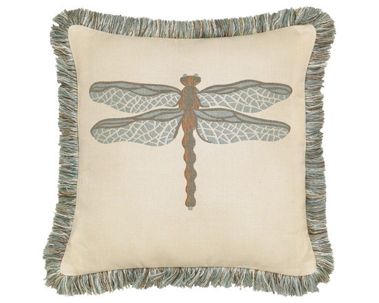 "Elaine Smith Luxury Outdoor Pillows - Elaine Smith Pillows Galapagos Dragonfly Spa - 20"" x 20"" - Elaine Smith pillow collections is the world's first and only line of outdoor luxury pillows. They start with the best, solution dyed yarns and work with the finest U.S. mills to create beautiful, long lasting quality products. These pillows can withstand nature and human nature, resisting sun, rain, and stains."
