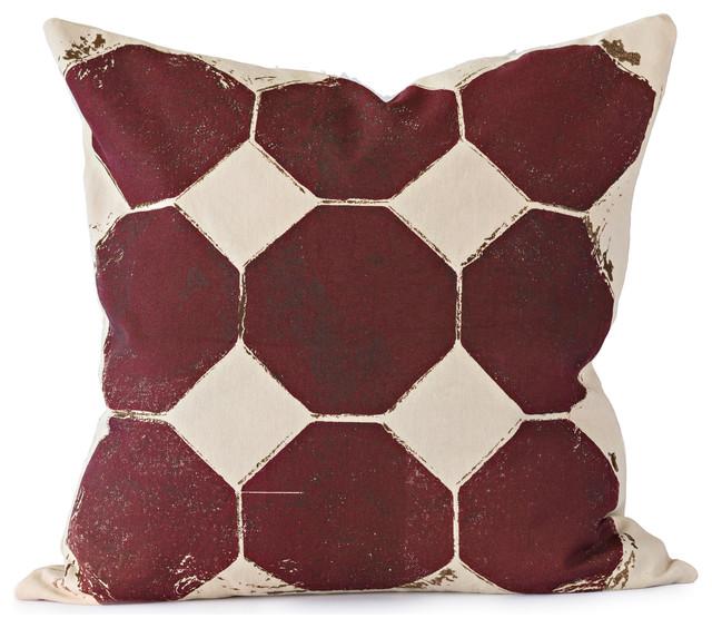 Burgundy Print Throw Pillows : Burgundy Octagon Throw Pillow - Contemporary - Decorative Pillows - by MERCATO Italian Antiques ...