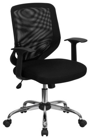 Flash Furniture Mid-Back Office Chair with Mesh Fabric Seat - Black contemporary-office-chairs