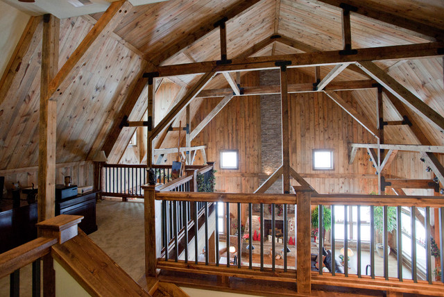 Iowa gambrel barn home traditional other metro by for Hip roof barn homes plans