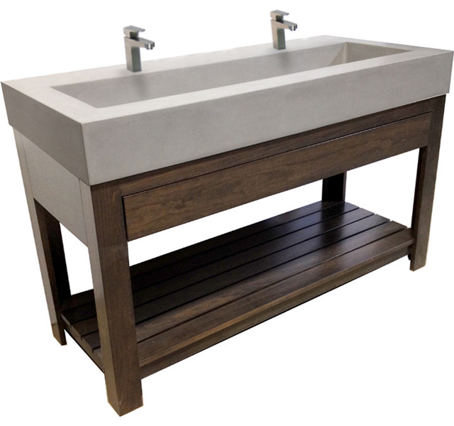 Bathroom Trough Sink Double Faucet : Concrete Sink - 48