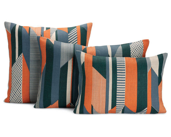 "Textured Stripe Pillow, Orange | Designed by Tamasyn Gambell - After graduating from the Royal College of Art and Design in London, textile designer Tamasyn Gambell headed to Paris, where she mastered her trade at couture houses such as Sonia Rykiel and Louis Vuitton. In 2007 she relocated to Stockholm to explore the opposite end of the spectrum as a print designer for H&M, launching her own company a year later. A true contemporary modernist, Gambell believes that good design and green design go hand in hand. ""I use the most eco-friendly materials and processes,"" she says, ""as I believe that designers have a responsibility to the environment and that being green does not have to compromise style or quality."" In creating her Textured Stripe Pillow (2012), Gambell was inspired by the colors and energy of tribal textiles and the shapes and simplicity of iconic Bauhaus design. The result is a collection of throw pillows that defy the whims of fashion. The fabric is sourced from one of the last linen mills in Ireland and printed by Gambell and her team in South London. Made in the U.K."
