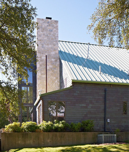 Stone Chimney Rebuild contemporary-exterior