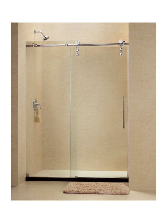 "Dreamline - Enigma-Z 56 to 60"" Fully Frameless Sliding Shower Door, Clear 3/8"" Glass Door - The Enigma-Z shower door delivers a flawless operation and sharp urban style. A sophisticated frameless design and striking stainless steel hardware provide the look of custom glass at an excellent value. Premium 3/8 in. thick tempered glass is treated with exclusive ClearGlass protective coating for superior protection and easy maintenance."