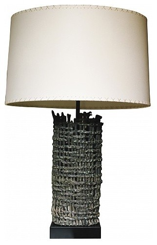 Tall Basket Weave Fragment Lamp by Clate Grunden eclectic-table-lamps