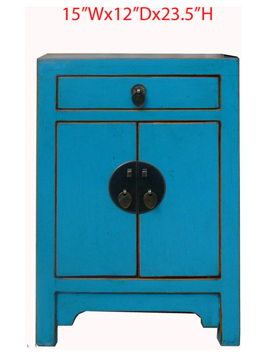Nightstand End Table Chinese Blue Lacquer Moon Face Cabinet - This is a Chinese blue lacquer nightstand end table which is made of solid elm wood. The front of cabinet has Chinese moon face design on it.