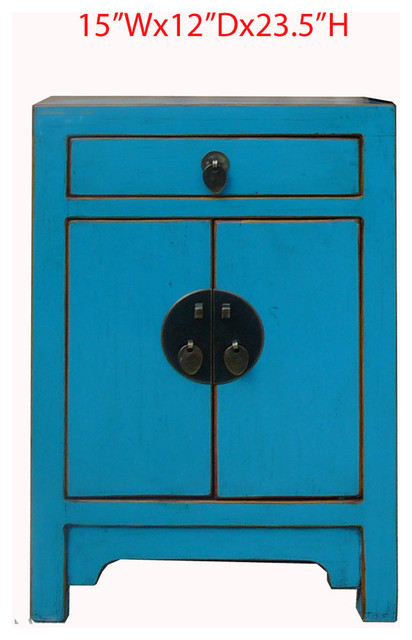 Nightstand End Table Chinese Blue Lacquer Moon Face Cabinet