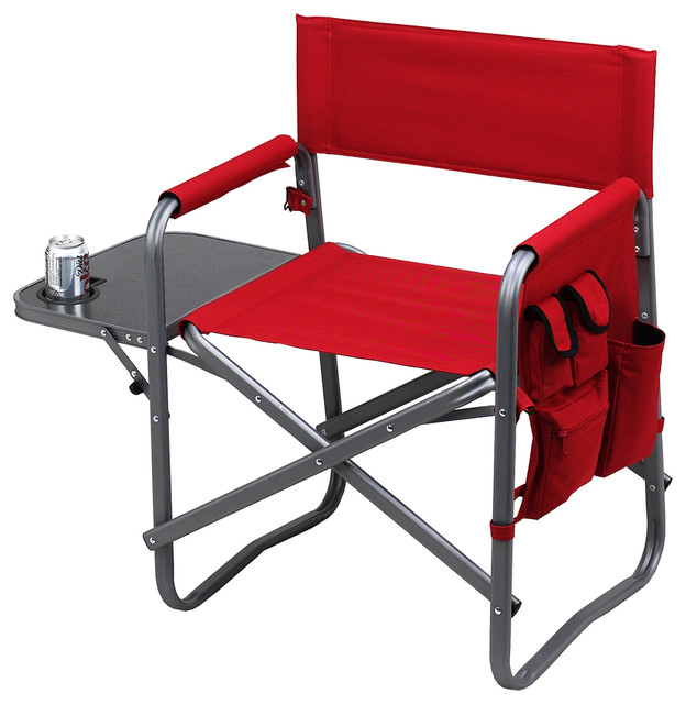 Director s Chair with Side Table Red Contemporary Outdoor Folding Ch