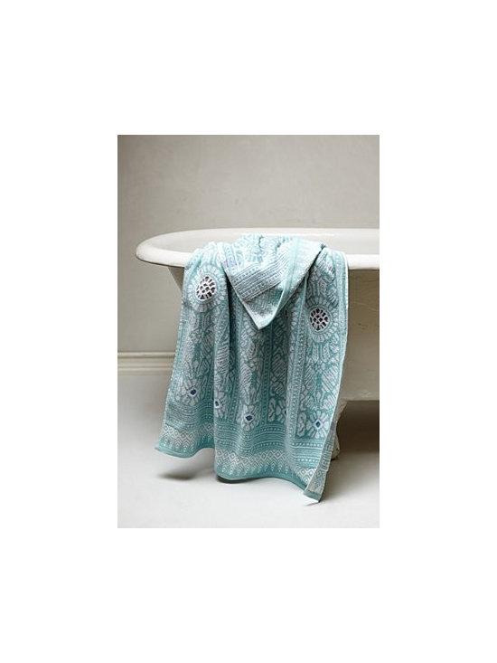 "Anthropologie - Marigold Towel Collection - Cotton. Machine wash. Washcloth: 13"" square. Hand towel: 30""L, 16""W. Bath towel: 54""L, 30""W. Portugal."