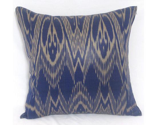ikat pillow covers, ikat, ikat cushion, yellow ikat, blue ikat, red ikat, ikat - navy blue ikat pillow cover