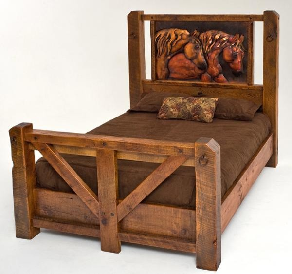 Barnwood Bed With Copper Horses Traditional Beds