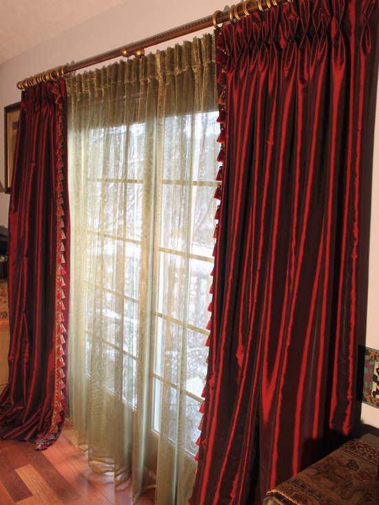 Burgundy Taffeta Drapes - Discontinued Collection -