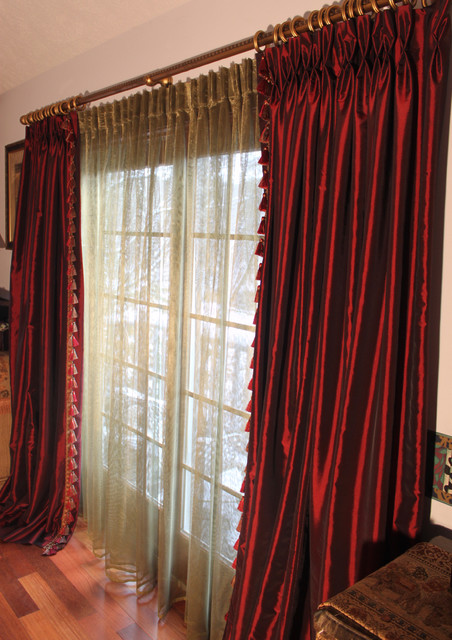 Burgundy Taffeta Drapes Discontinued Collection Traditional Curtains Other Metro By