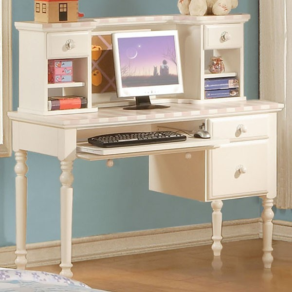 acme furniture zoe white student computer desk with hutch 11044