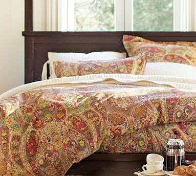 Rosalie Paisley Duvet Cover, Full/Queen, Red - Traditional - Bedding - by Pottery Barn