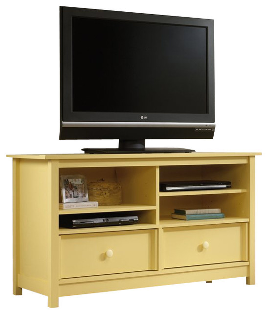 Sauder Original Cottage TV Stand in Melon Yellow - Transitional - Entertainment Centers And Tv ...