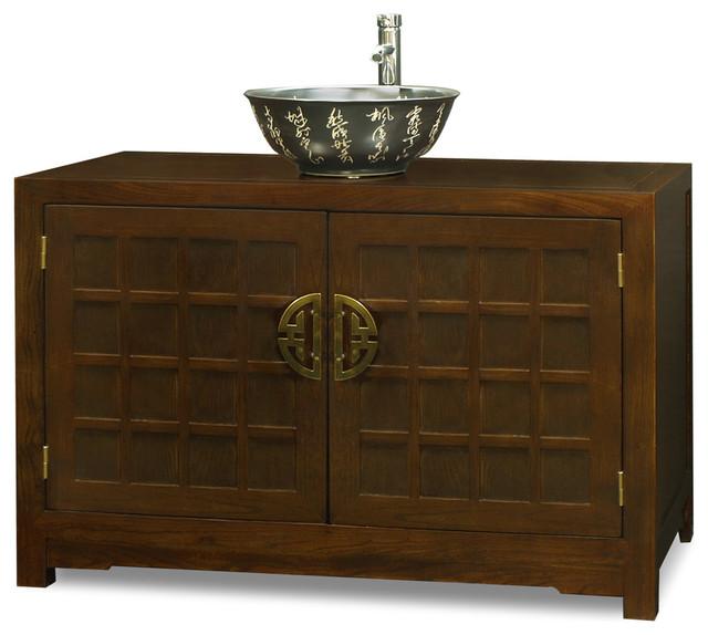 Elmwood tansu style vanity cabinet asian bathroom for Japanese style kitchen sink