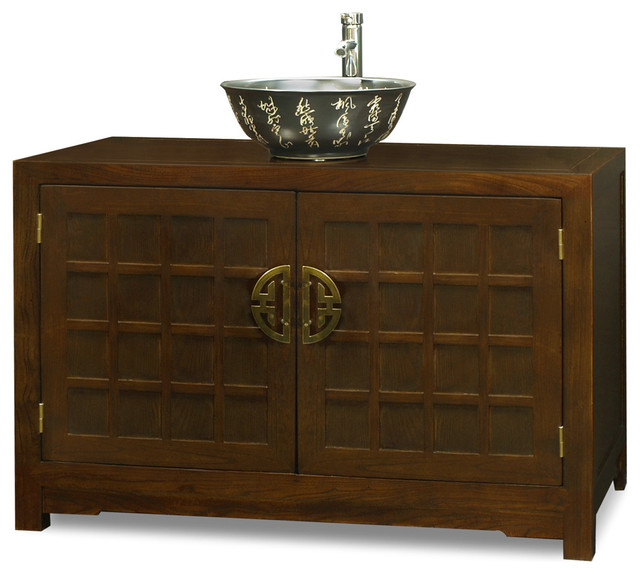 elmwood tansu style vanity cabinet asian bathroom