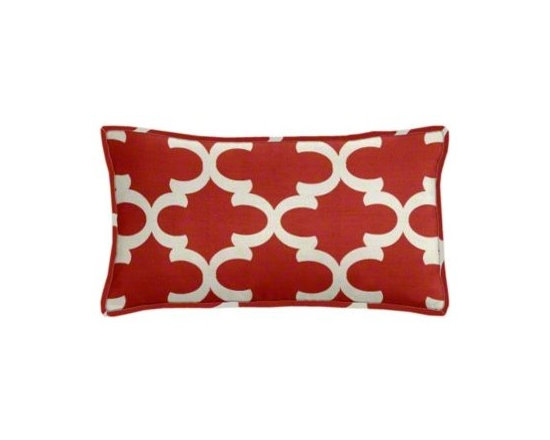 "Cushion Source - Red Lattice Lumbar Pillow - The 20"" x 12"" Red Lattice Lumbar Pillow features a classic geometric lattice pattern in natural on a bold red background."