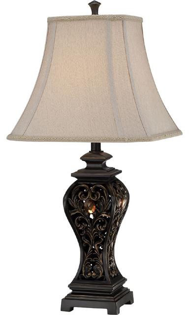 Table Lamp - Aged Brass Finished/Fabric Shade traditional-table-lamps