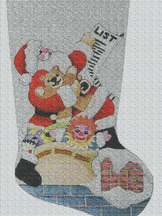 """The Art Needlepoint Company - Art Needlepoint Santa's List Christmas Stocking Needlepoint Canvas - """"You better watch out - Santa's making his list! Fine detail without being overly challenging. Will make a special stocking for someone. Measures 16"""""""" x 22"""""""" long on 14 mesh mono deluxe needlepoint canvas. CANVAS ONLY"""