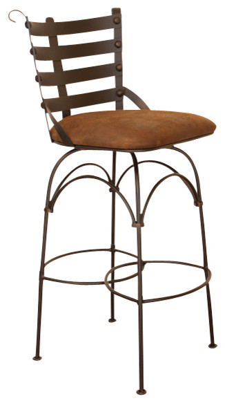 Artisan Home Swivel Armless Barstool W Iron Back And Microfiber Seat 24 Inch Traditional