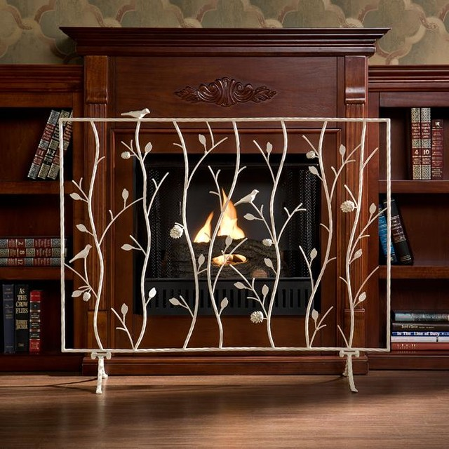 The gallery for nautical print fabric Decorative fireplace screens