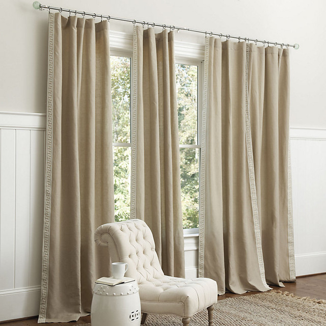 Olympia Greek Key Panel Traditional Curtains By Ballard Designs