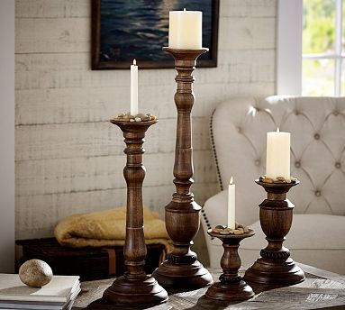 Oxford Wood Pillar Candle Holder Large Traditional