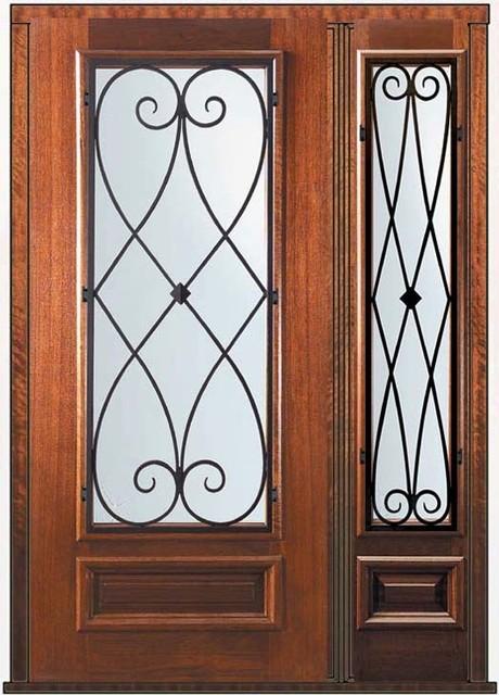 Prehung Sidelite Door 80 Mahogany Charleston 3/4 Lite Wrought Iron eclectic-front-doors