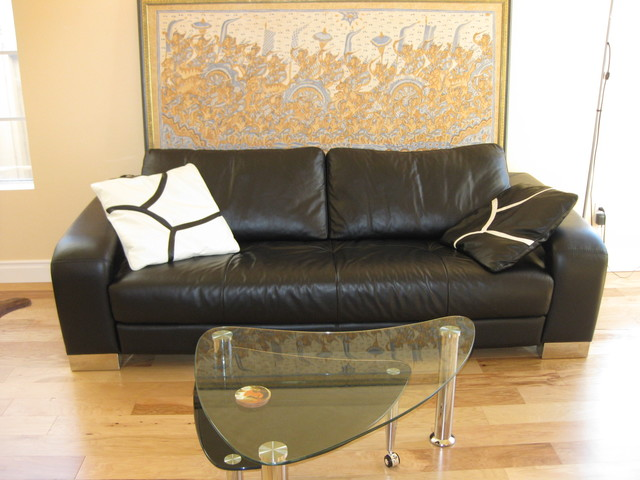 New leather couch and coffee table modern-living-room