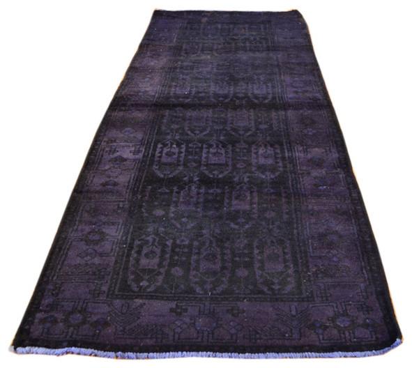 Hand Knotted Rug Persian Hamadan Runner Purple Cast Overdyed Sh3854 modern-rugs