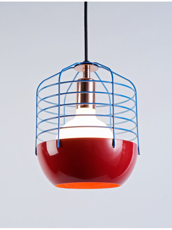 Bluff City Pendant - 8 inches - Red/Blue - Bluff City merges a traditional pendant shade and a wire cage into an industrially inspired but refined pendant. A variety of finish combinations gives the light a vaguely postmodern feel that echoes the Memphis movement. However, the Tennessee town, known as Bluff City, was the inspiration for the series. By Jonah Takagi for Roll & Hill. Photo credit: Joseph de Leo
