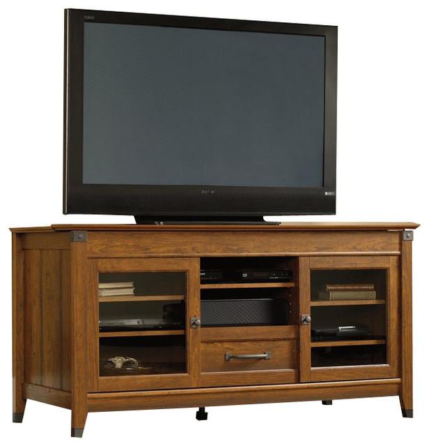 Sauder Carson Forge TV Stand in Washington Cherry Finish - Modern - Media Storage - by Cymax