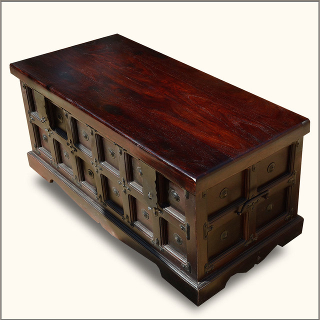 Royal Gothic Indian Rosewood Standing Coffee Table Chest Transitional Accent Chests And