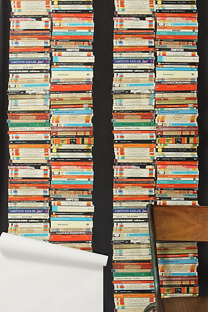 Stacked Paperback Wallpaper eclectic wallpaper