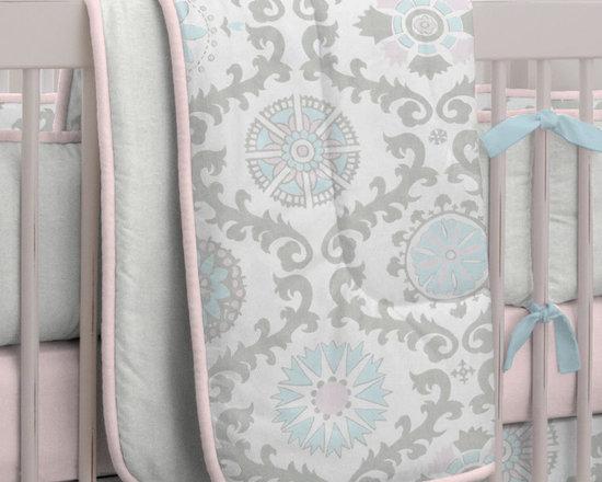 Pink and Gray Rosa Crib Comforter -