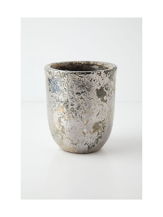Anthropologie - Metallic Crackle Herb Pot, Silver - This metallic herb pot will hold your herbs in shimmering style. Use a few down the center of your outdoor dining table, or use them to hold utensils for a casual outdoor buffet.