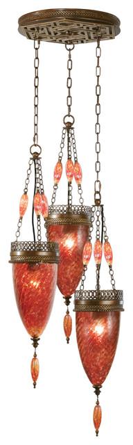 Fine Art Lamps 608640-4ST Scheherazade Bronze Sunset Red Glass Pendant eclectic-pendant-lighting
