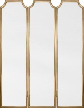 Gold Leaf Tri-Fold Mirrored Screen modern-screens-and-room-dividers