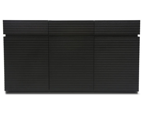 Bryght - Strip Ebony Wood Sideboard - The Strip sideboard boasts a visually widening slim groove sleek design with mid century modern undertones. Beautiful craftsmanship in an ebony stain makes for a pleasing and aesthetically designed addition to any modern home decor.